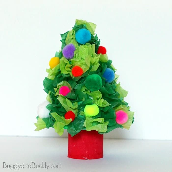 Christmas Tree Craft Using Tissue Paper is part of Little Kids Crafts Tissue Paper - We used tissue paper to make this cute mini Christmas tree craft  Kids love decorating their little trees, and the finished craft makes a wonderful holiday decoration!