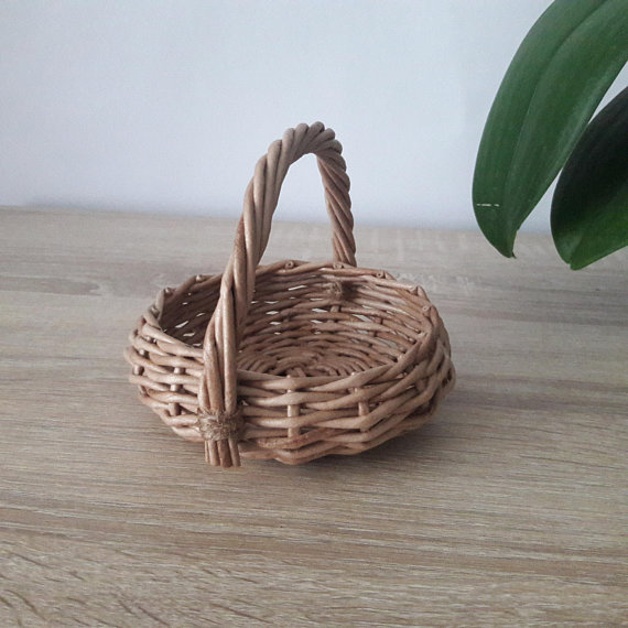 Small Wicker Basket With Handle Rustic Round Basket Easter Wicker Baskets With Handles Wicker Rustic Table Decor