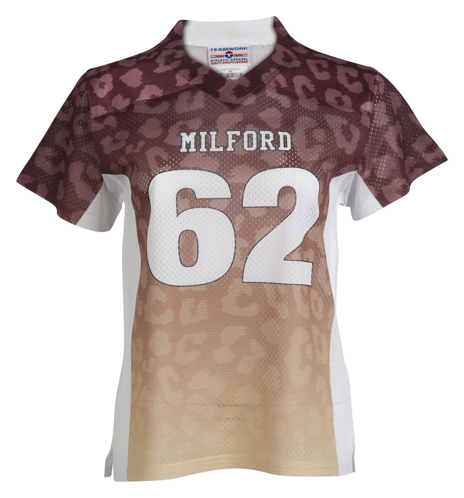 Design your own football jersey t-shirt - Personalized Womens Cheetah Print Replica Football Jersey