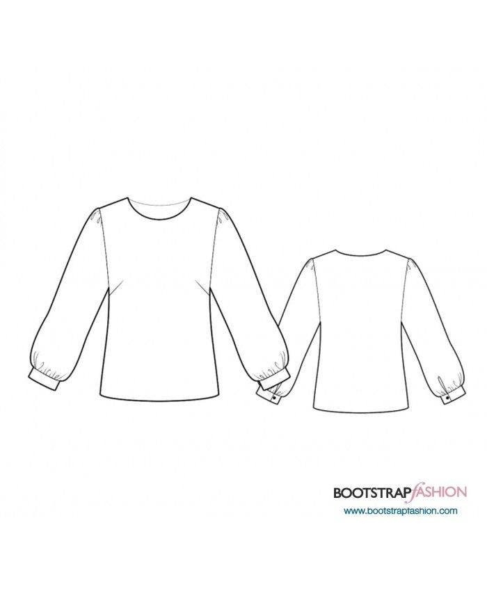 Custom-Fit Sewing Patterns - Blouse With Gathered Sleeves | Make ...