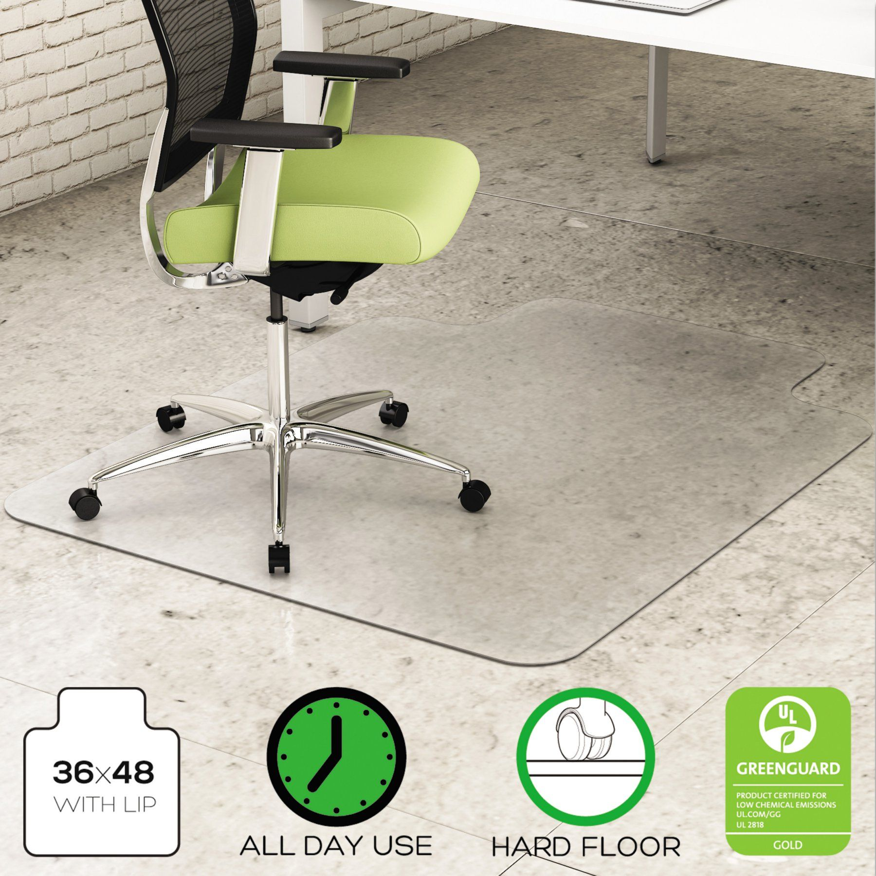 deflect o 36 x 48 environmat recycled chair mat with lip for hard