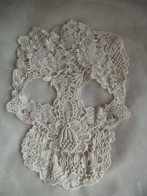 retro Cotton Lace applique, skull design lace applique, lace skull