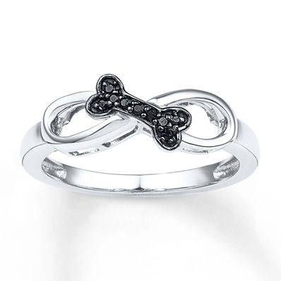 Artistry Diamonds Pet Love Paw Print Ring Black Diamond Sterling Silver/10K Gold V1f6oqVh