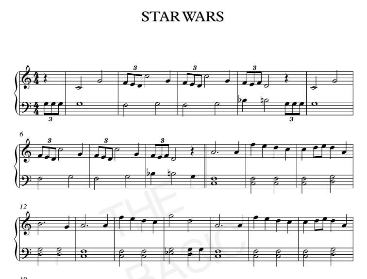 Star wars main theme piano sheet music piano sheet for Classic house music songs