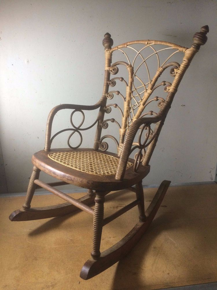 Victorian Childrens Rocker Rocking Chair Wicker Antique