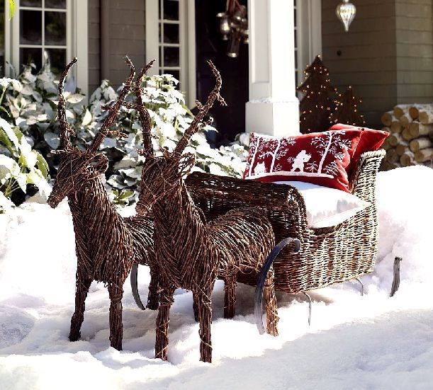 awesome reindeer outdoor christmas decoration artistic rattan santa cart