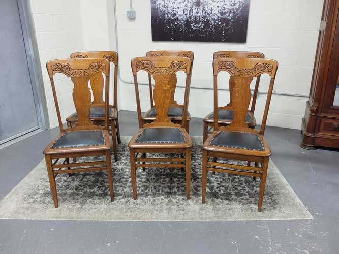 Antiques By Design Solid Quarter Sawn Oak Press Back Dining