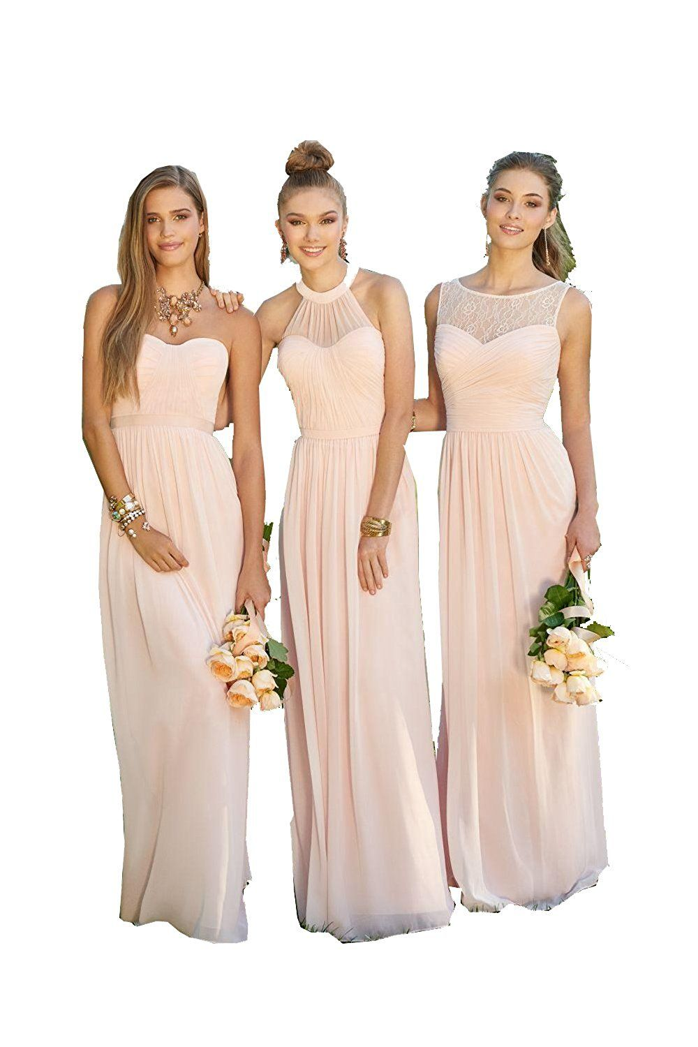 Caradress mixed style chiffon bridesmaid dress long party prom