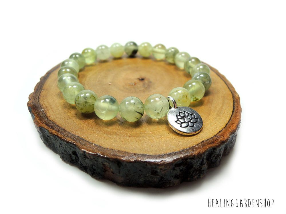 Prehnite with Lotus Charm Bracelet // Aura Protection // Empath Protection // Reiki Jewelry // Heart Chakra // Healing Garden Shop by HealingGardenShop on Etsy https://www.etsy.com/listing/459929056/prehnite-with-lotus-charm-bracelet-aura