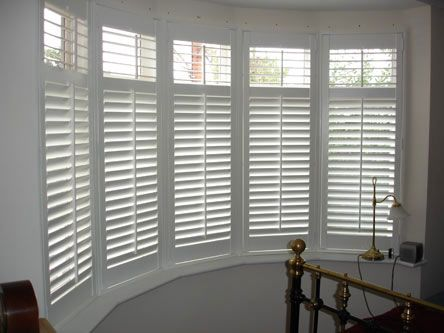 Bay window plantation shutters home pinterest for Bay window interior