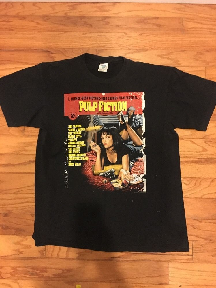 Vintage 90s Pulp Fiction T Shirt Sz Xl Rare Na Basictee