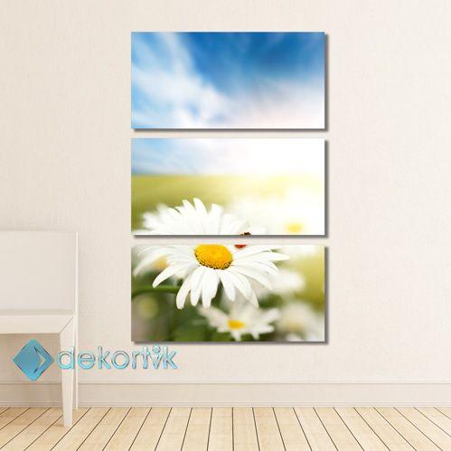 Floral Uğurlu Papatya Tablo #parçalı_kanvas_tablolar