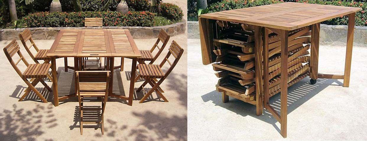 Set darwin tavolo quadrato pieghevole n 6 sedie pieghevoli in legno acacia art lgl 10279 - Tavolo pieghevole con maniglia ...