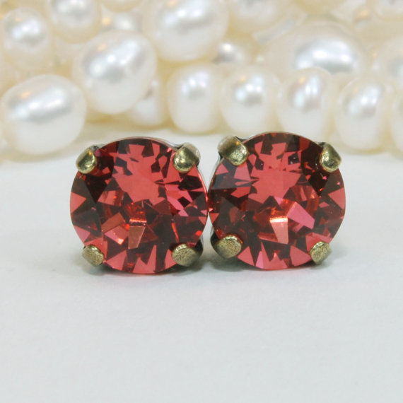 Coral Studs Coral Swarovski Crystal studs Coral Bridesmaids Earrings Peach Pink Earring Pomegranate Coral wedding,Brass,Padparadscha,BE1