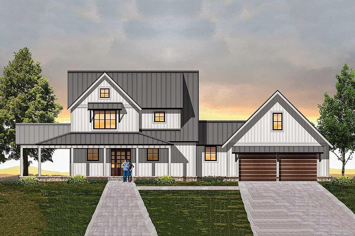 Plan 18850ck Modern Farmhouse Plan With Semi Detached Garage Modern Farmhouse Plans Farmhouse Plans House Plans Farmhouse