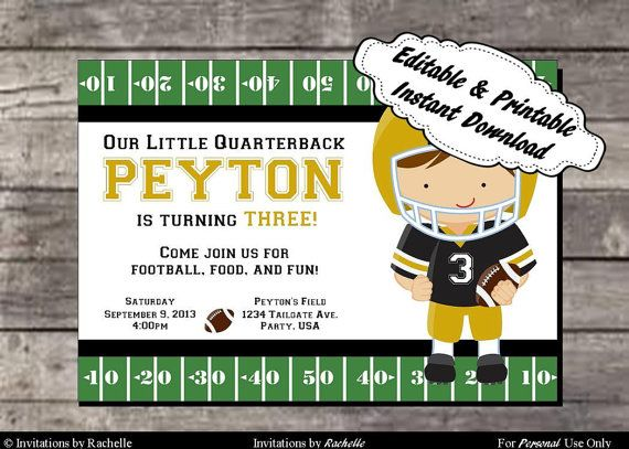 Football Birthday Party Invitation Black  and Gold- Editable Printable Digital File with Instant Download