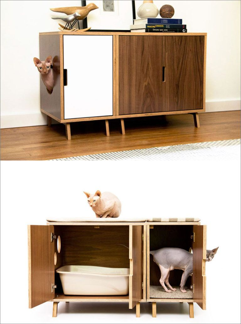 These Mid Century Modern Inspired Cabinets Hide A Cat S Litterbox Modern Cat Furniture Litter Box Furniture Cat Litter Box Furniture