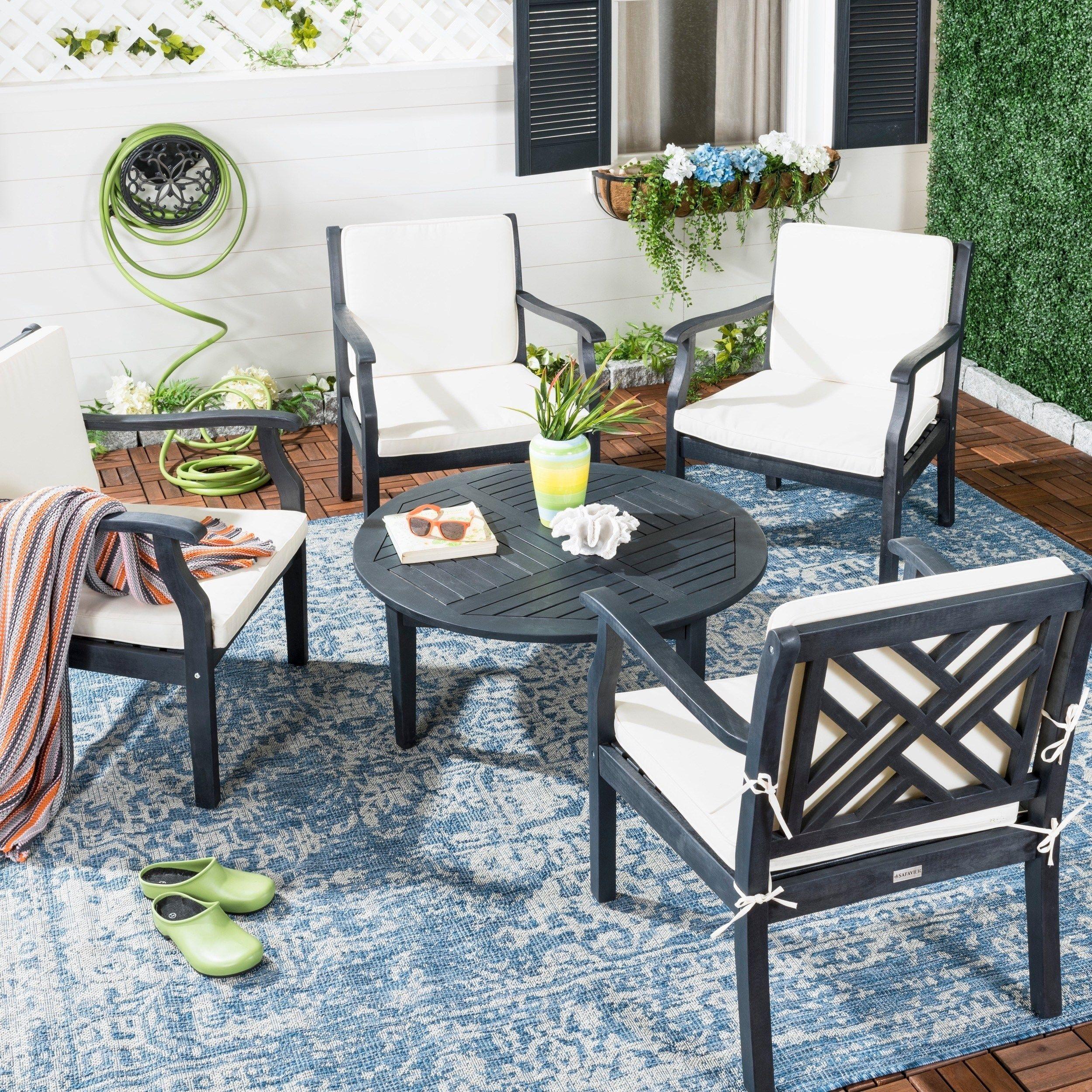 Best 5 Piece Safavieh Outdoor Living Anaheim Dark Slate Grey 400 x 300