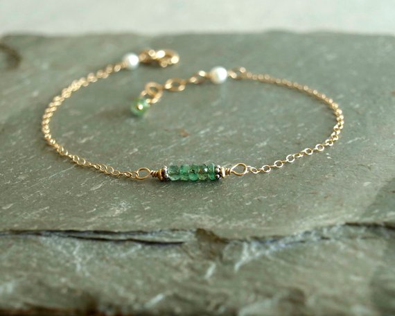 Photo of Emerald Bracelet, dainty gold chain, freshwater pearls, small genuine natural real emeralds, green emerald jewelry gemstones