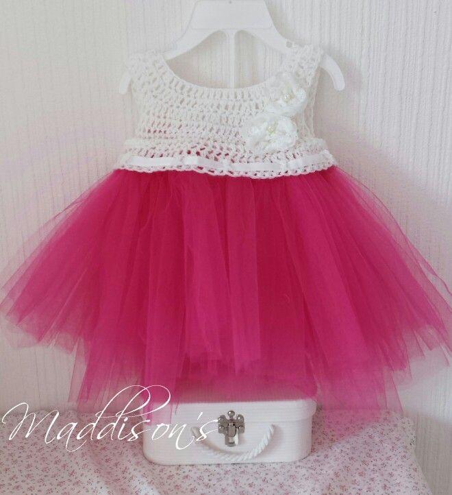Crochet dress with tulle skirt.
