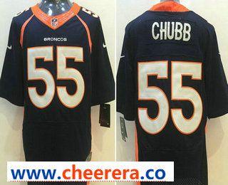 1058fe066 Men's Denver Broncos #55 Bradley Chubb Navy Blue Alternate NFL Nike Elite  Jersey