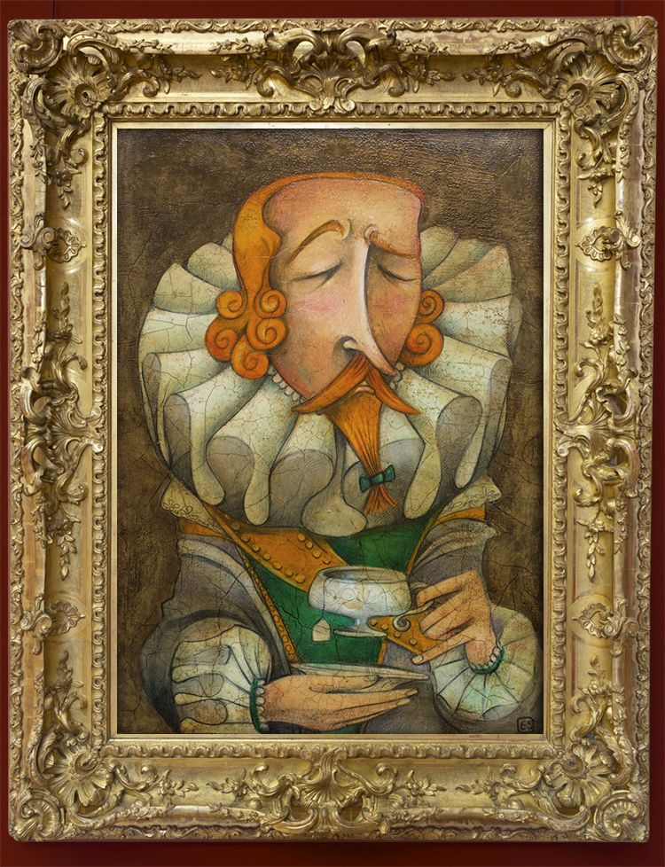 Sir Francis Drake - oil pastels and varnish on paper  created by Mrs Peggotty - Elisabetta Stoinich 2013