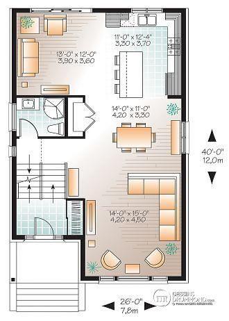 plan maison contemporaine terrain etroit