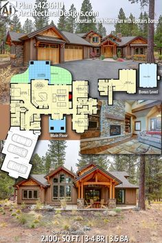 Plan 54236HU: Mountain Ranch Home Plan with Upstairs Bonus