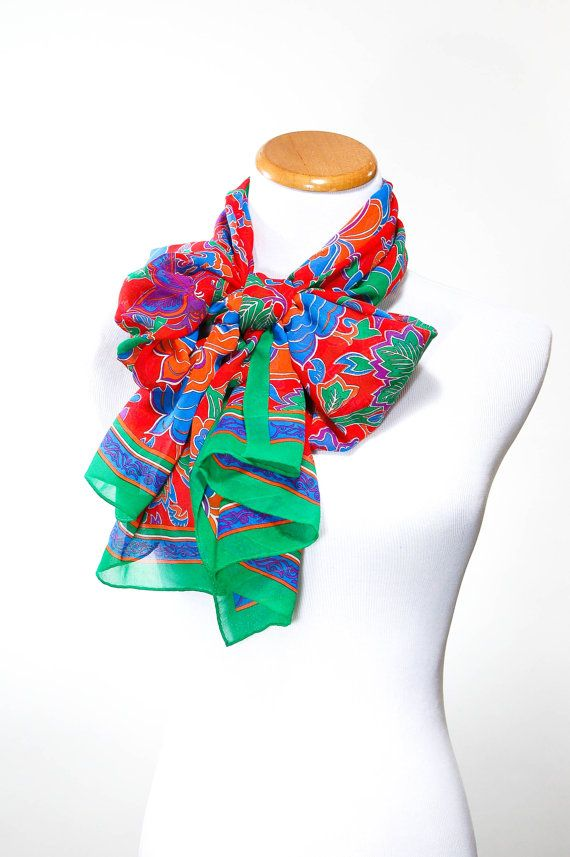 Ginnie Johansen Silk Scarf Floral Colorful Bright Green Red Blue Purple