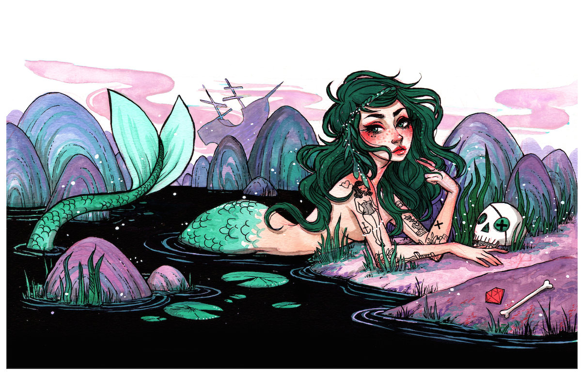 "Mermaid 11x17"" Poster from Jacquelin de Leon Illustration"
