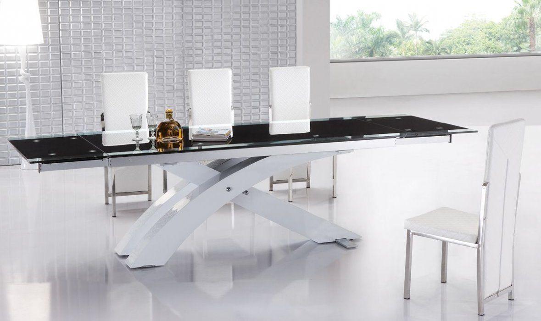 Modern Extendable Dining Table With Glass Top And Metal Base Minimalistische Esszimmer Esstisch Modern Esstisch Glas