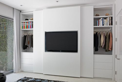 Tv Mounted With Sliding Closet Doors Closet Designs Bedroom