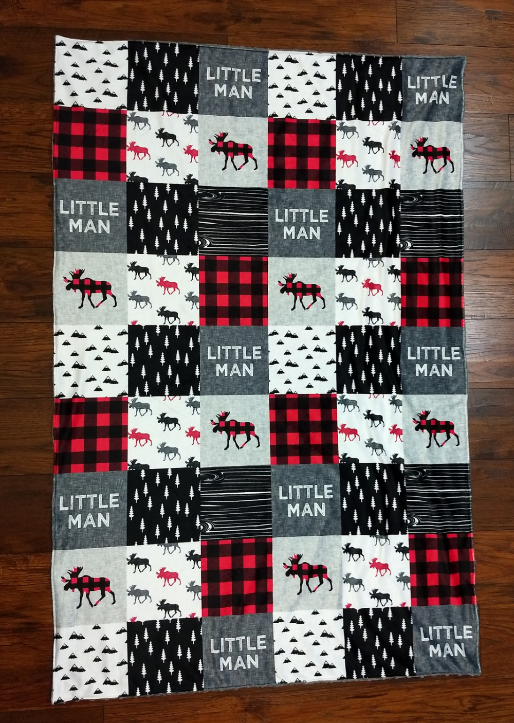Photo of Baby Boy Minky Blanket- Woodland Moose Buffalo Plaid  little man Lodge Black Red Lumber Jack baby boy blanket baby boy minky blanket