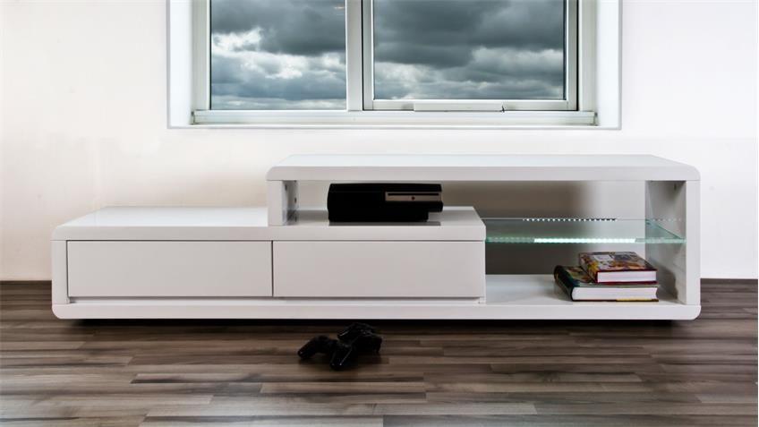 tv lowboard eran hochglanz wei mit beleuchtung wohnzimmer pinterest hochglanz lowboard. Black Bedroom Furniture Sets. Home Design Ideas