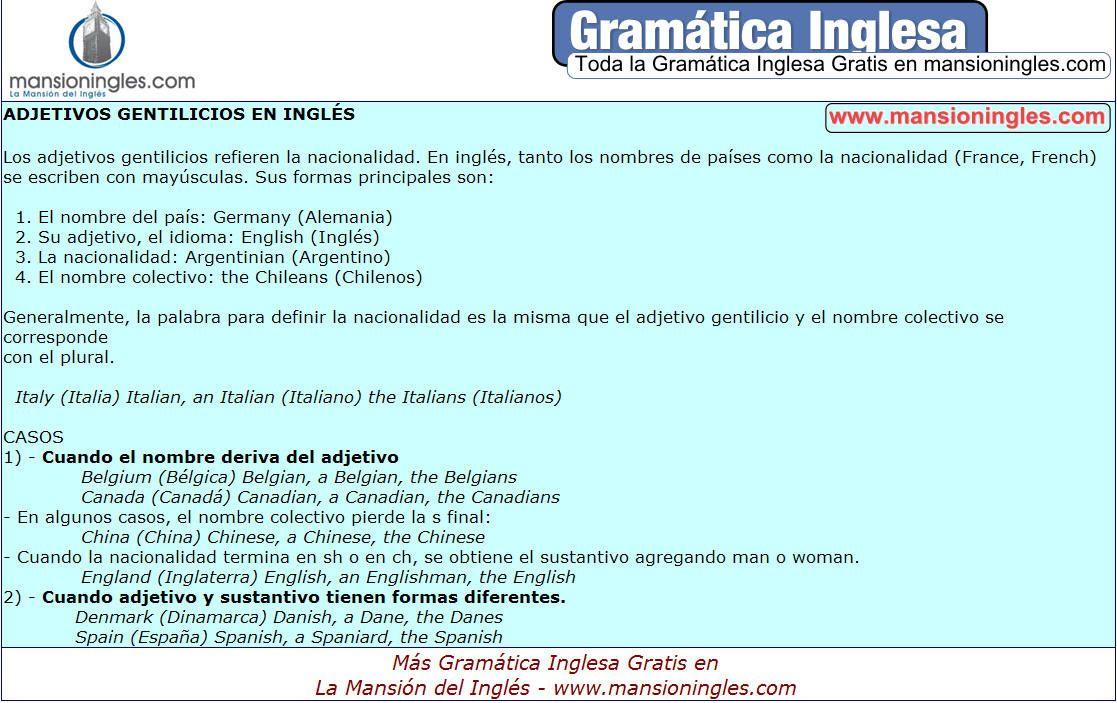 Gramática Ingesa Adjetivos Gentilicios En Inglés Gramática Inglesa Gramática Ingles