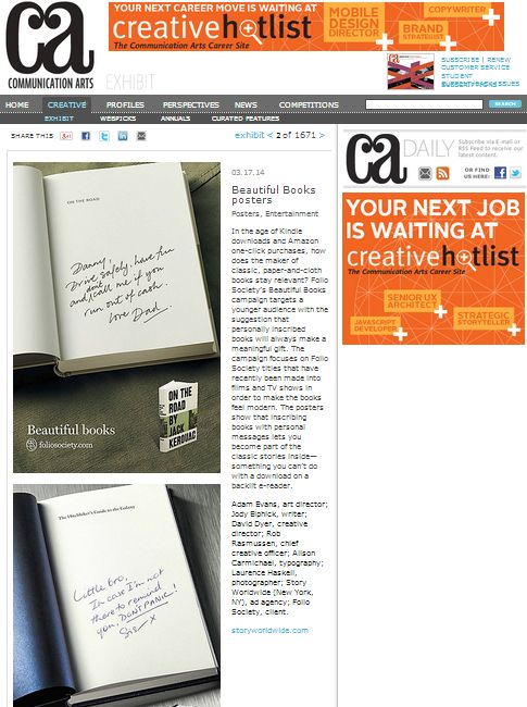 """""""In the age of #Kindle #downloads & #Amazon one-click purchases, how does the maker of classic, paper-&-cloth books stay relevant?""""  We #LOVE this Communication Arts article about #AlisonCarmichael's (Made by Alison Carmichael) recent #HandLettering commission for the #FolioSociety: http://bit.ly/1iYBPON"""