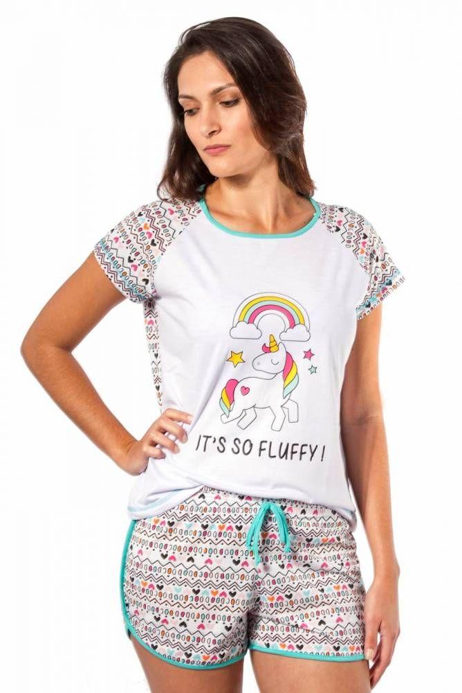08cf372be16091 Pijama Feminino Curto com Shorts - Unicórnio | Pijamas Primavera ...