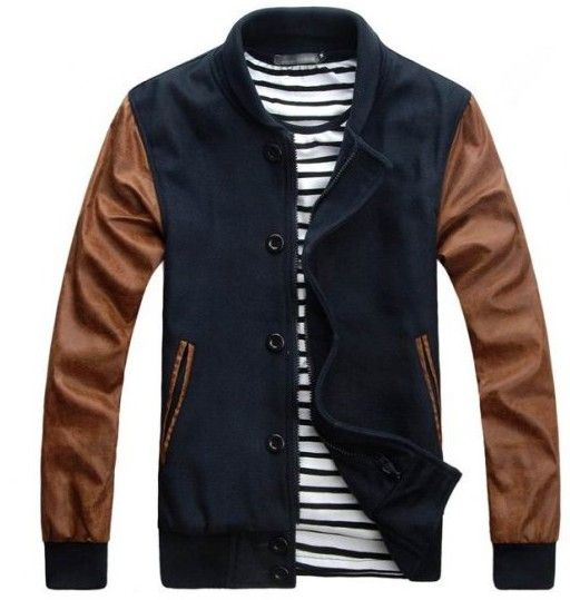 Navy Brown Baseball Jacket. Great for a spring casual outing ...