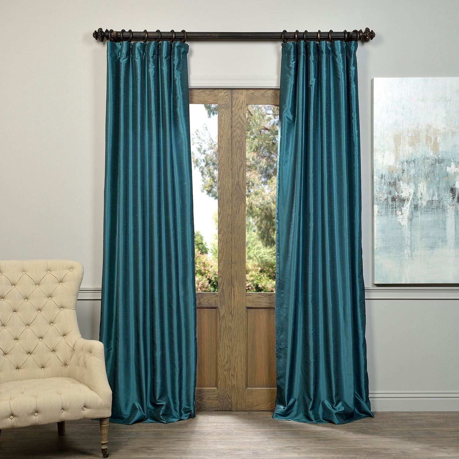 Faux Silk Curtains Dress Up Your Window In Extravagant Style With This Peacock Blue