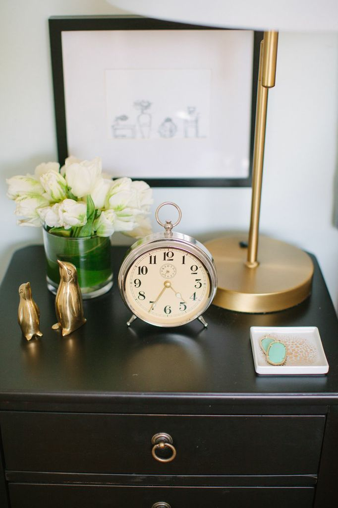 Danielle moss chicago home tour bedroom side table gold photography by stoffer photography