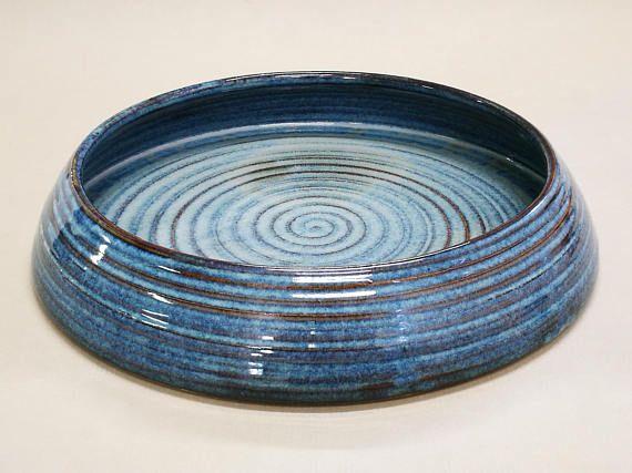 "Ikebana for Realistic landscape Suiban type for Moribana Shakei Shizen-hon-i. floating blue glaze, 32cm(12.6"") x 6 cm (2.3"") H"