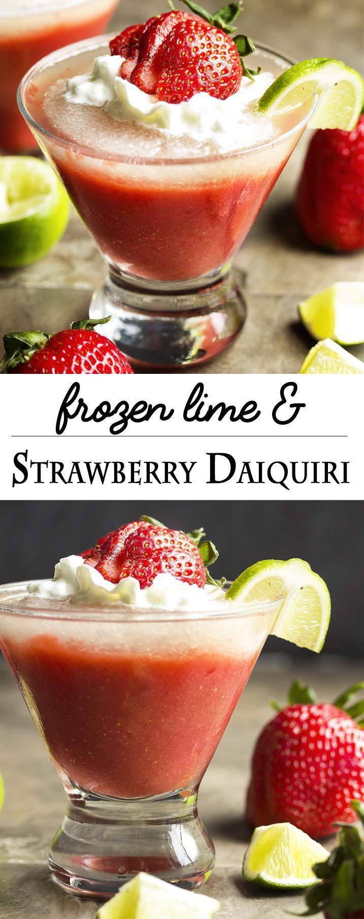 Layered Frozen Strawberry And Lime Daiquiri Recipe Yummy Drinks Daiquiri Strawberry Daiquiri