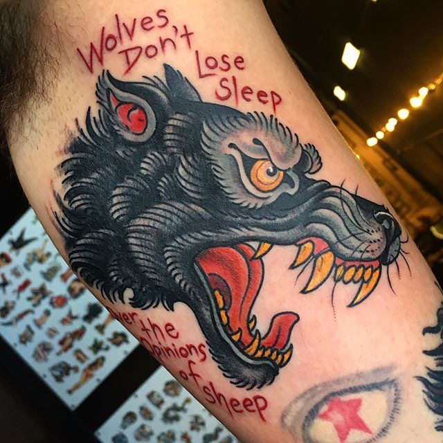 Traditional Wolf: Wolf Head By @steveminerva #hiddenhistorytattoo #dovernh