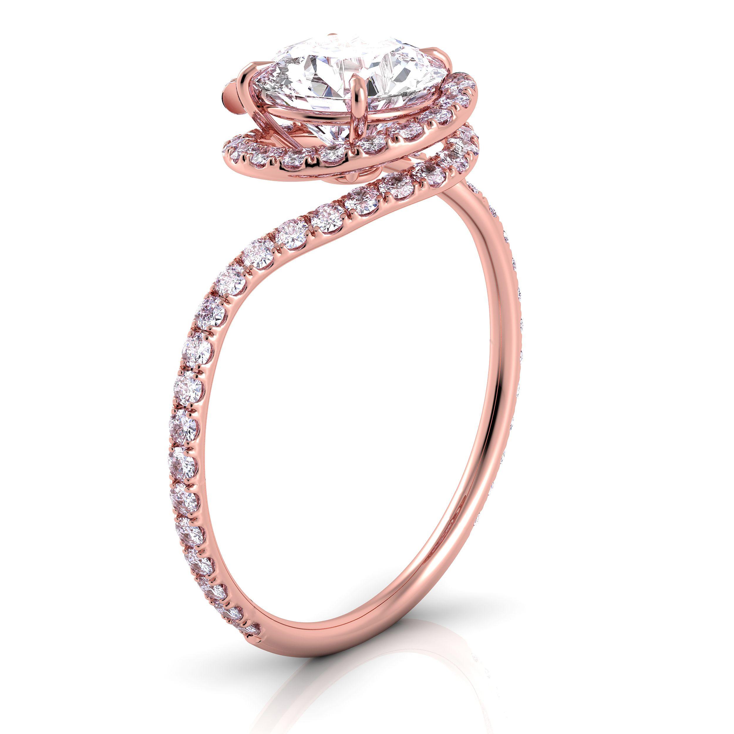 Danhov Abbraccio Diamond Swirl Engagement Ring In 18k Rose Gold Style  Ae100 Handcrafted In