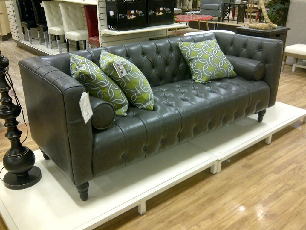 Bonded Leather Tufted Sofa