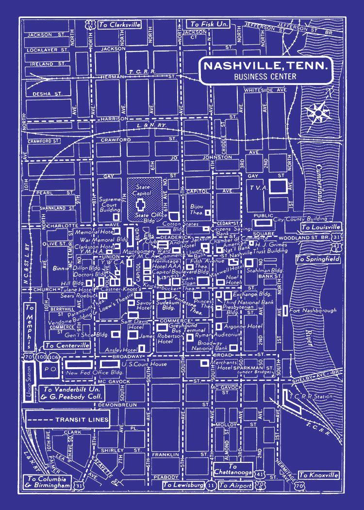 Nashville city map 1949 vintage map of nashville blueprint map nashville city map 1949 vintage map of nashville blueprint map print poster malvernweather Choice Image
