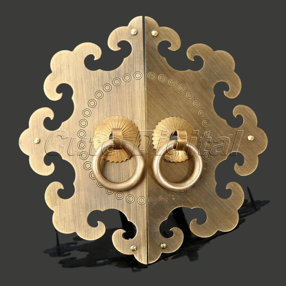 Antique Brass Furniture Hardware Chinese Cabinet Plate Handle Door