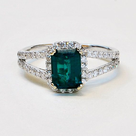 14K White Gold Diamond and Gem Emerald Engagement Ring on Etsy, $13,950.00