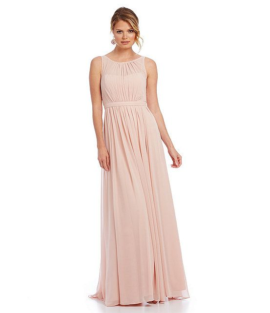 Adrianna Papell Sleeveless Shirred Chiffon Gown Color: Blush $164.00 ...