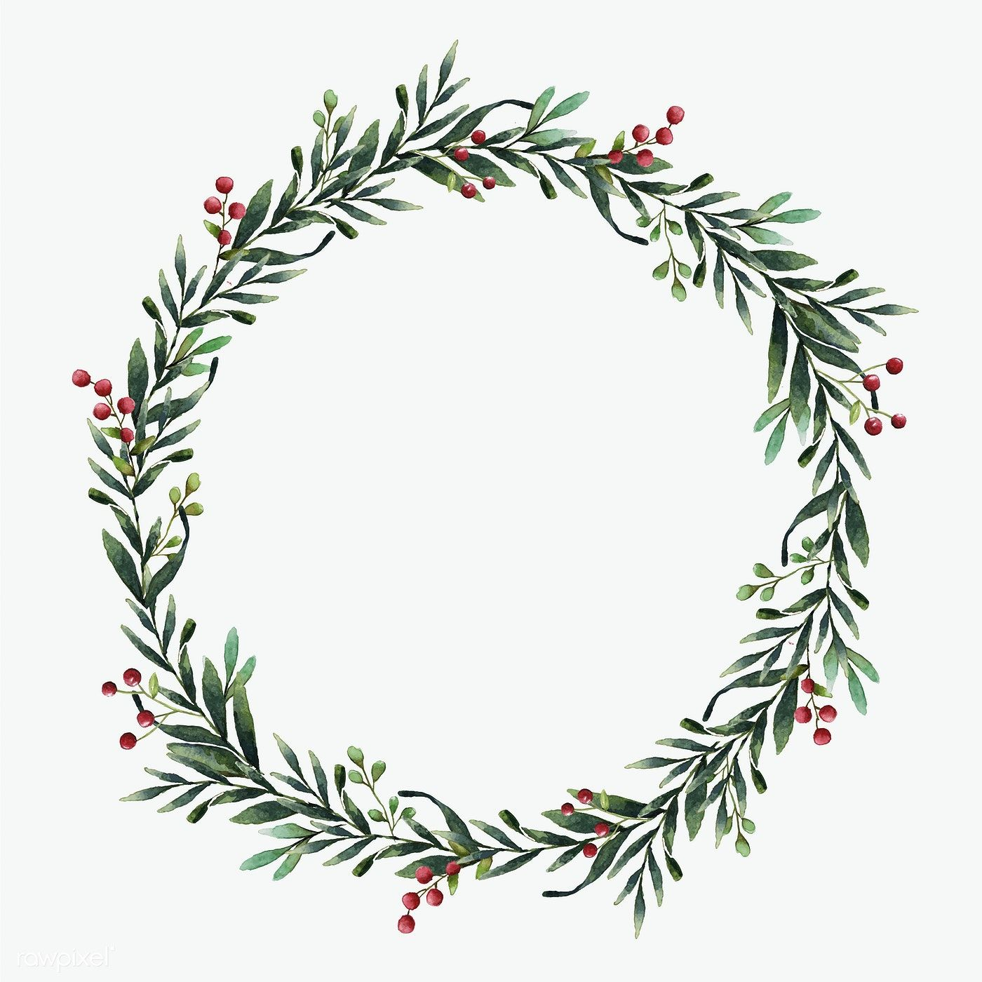 Round Christmas wreath vector watercolor style free